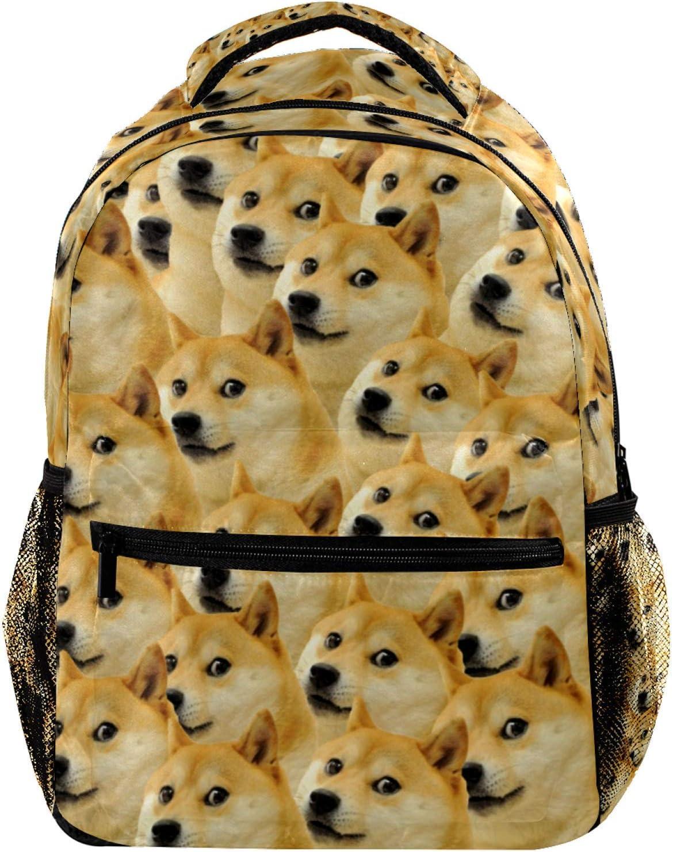 Funny Shiba Inu Doge Pattern Laptop Backpack for Men School Bookbag Travel Rucksack Daypack School Bag for Women Girls