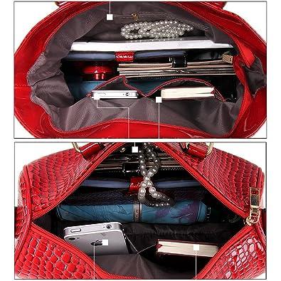 9ff53f2c468 MIOIM Mujer Bloso de 6pcs Bolso Bandolera Bolso Mano Bolso Tote Bag Bolso  Cuero Bolso Shopper Bolsos (Negro)  Amazon.es  Zapatos y complementos