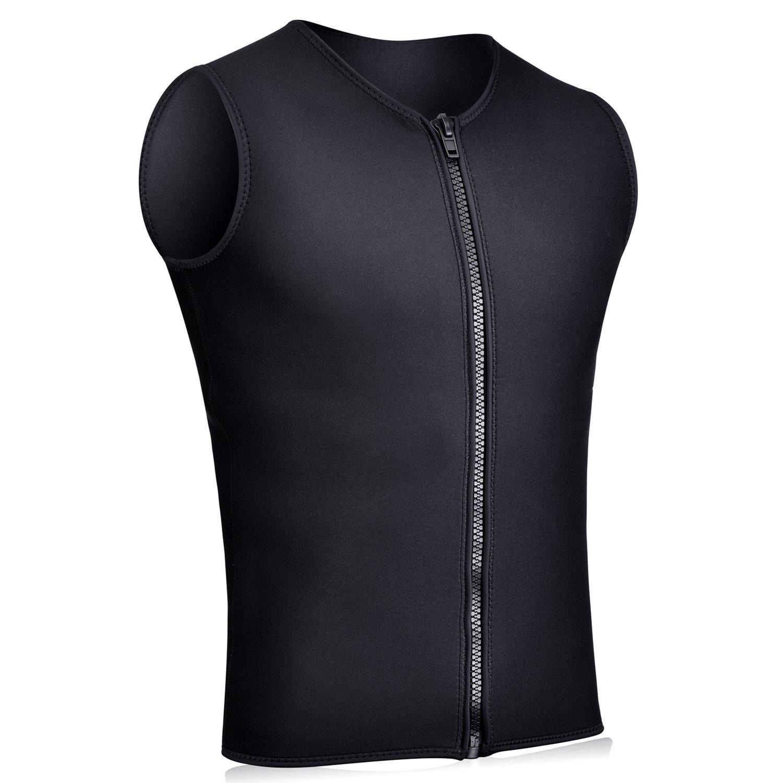 Realon Wetsuits Vest Mens Top Premium Shirt Neoprene 3mm Sleeveless Front Zipper Sports XSPAN for Scuba Diving Surfing Swim Snorkel Suit (Black, XXL) by Realon