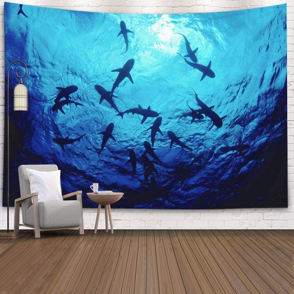 Shorping Hanging Wall Tapestry, 60x50Inches Home Wall Hanging Tapestries Art for Décor Living Room Dorm Sharks