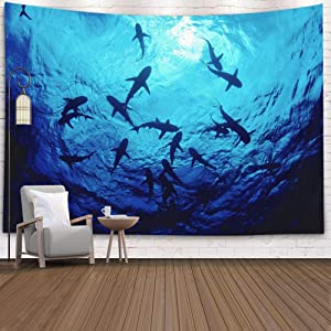 Shorping Great White Shark Tapestry, 80x60Inches Hanging Wall Tapestry for Décor Living Room Dorm Sharks