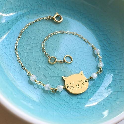 Pulsera de Oro Personalizado con Pequeña Cara de Gato y Piedra Lunar, pulsera de gato