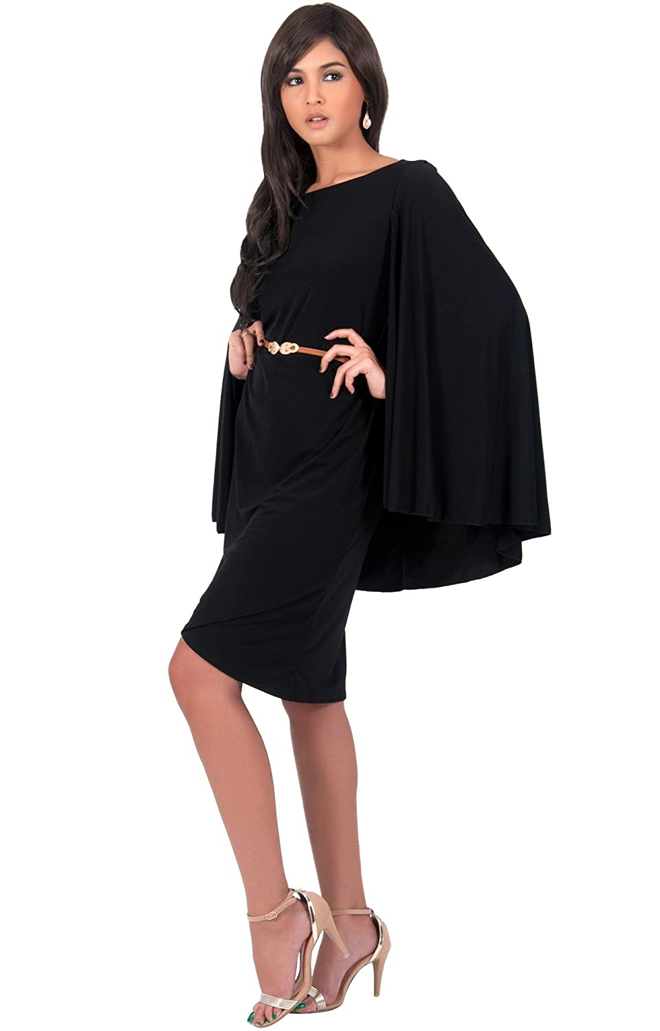 KOH KOH Womens Cape Long Sleeve Round Neck Cocktail with Leather ...