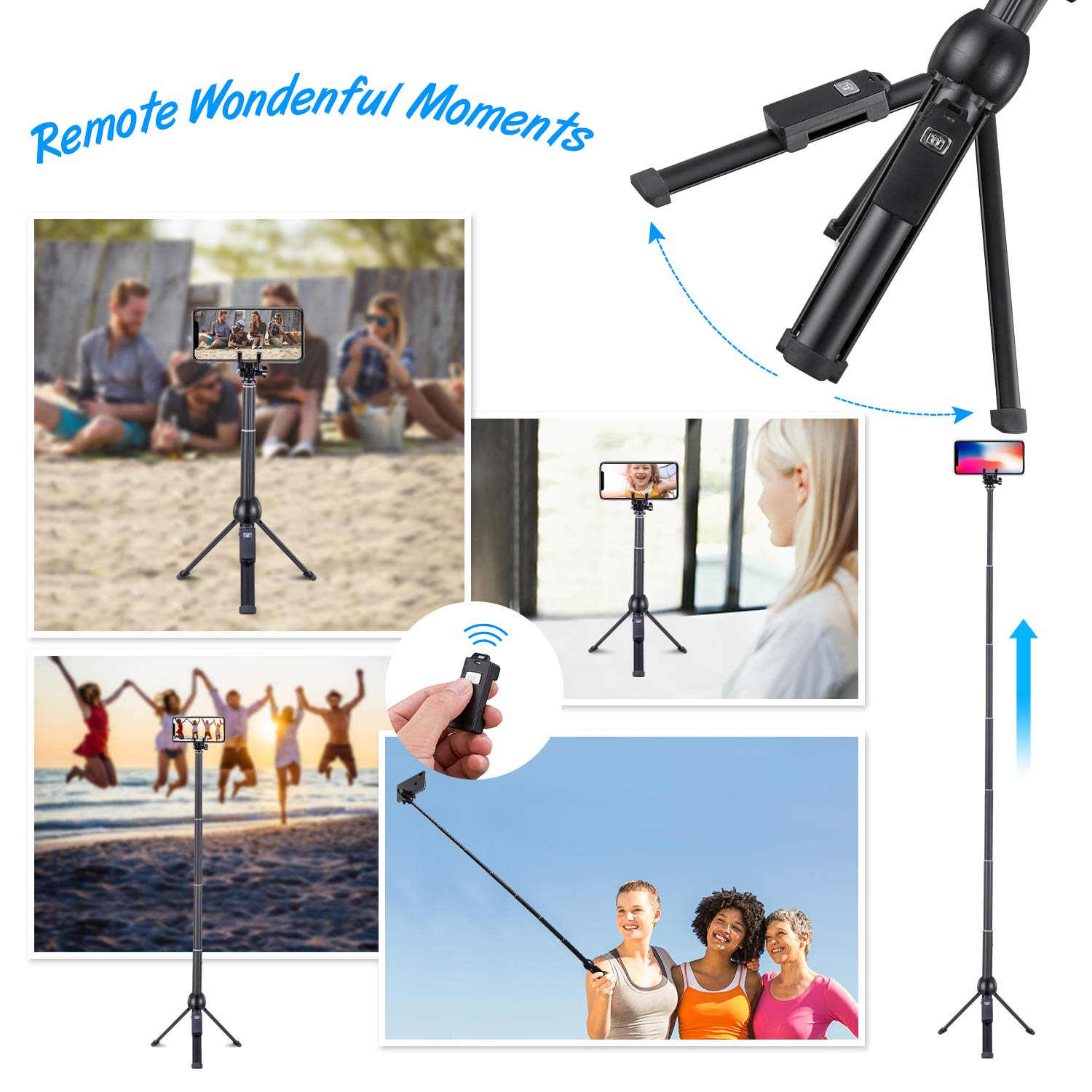 Eocean 45-Inch Selfie Stick Tripod, Extendable Selfie Stick with Wireless Remote Compatible with iPhone Xs/Xr/Xs Max/X/8 Plus/8/ iPhone XR/iPhone XS/iPhone XS Max/7 Plus/Galaxy Note 9/S9/S9 Plus/GoPro by Eocean (Image #7)