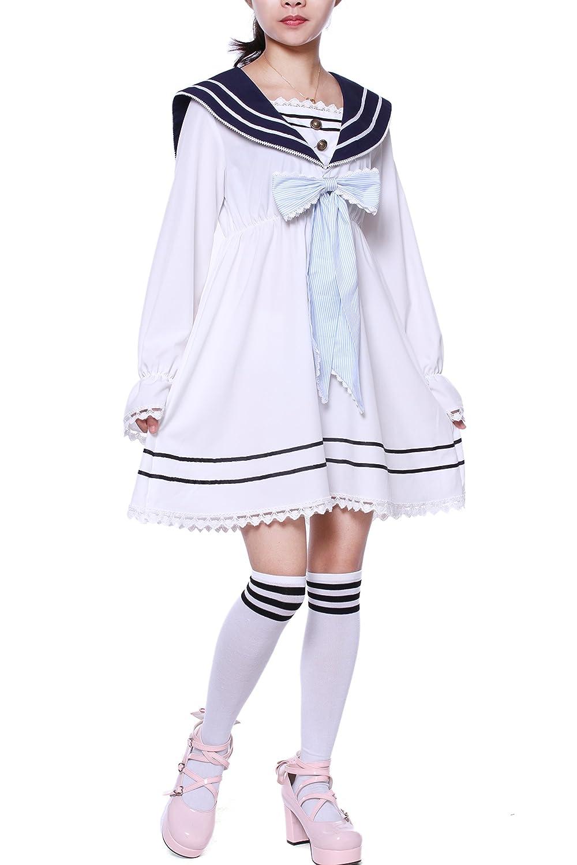 Vintage Style Children's Clothing: Girls, Boys, Baby, Toddler Lemail Girls Sailor School Uniform Chiffon Japanese Pleated Dress $29.99 AT vintagedancer.com