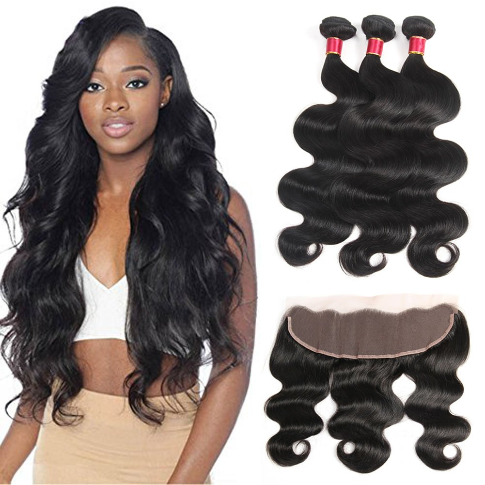 Peruvian Body Wave Frontal with 3 Bundles Fine Plus 8a Virgin Hair Bundle Deals with Closure (13×4 )Ear to Ear Frontal Lace Closure with Bundles Peruvian Hair Closure Body Wave 20 22 24 + 16