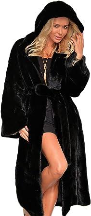 VLUNT Femmes Mi Longue Manteau à Capuche de Fausse Fourrure