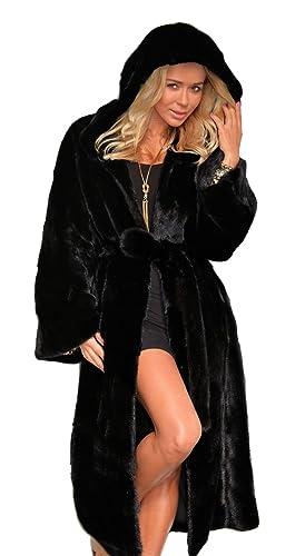 VLUNT Abrigo de Pelo Chaqueta piel Top Invierno Abrigo Chaqueta Fur Coat Largo Abrigo