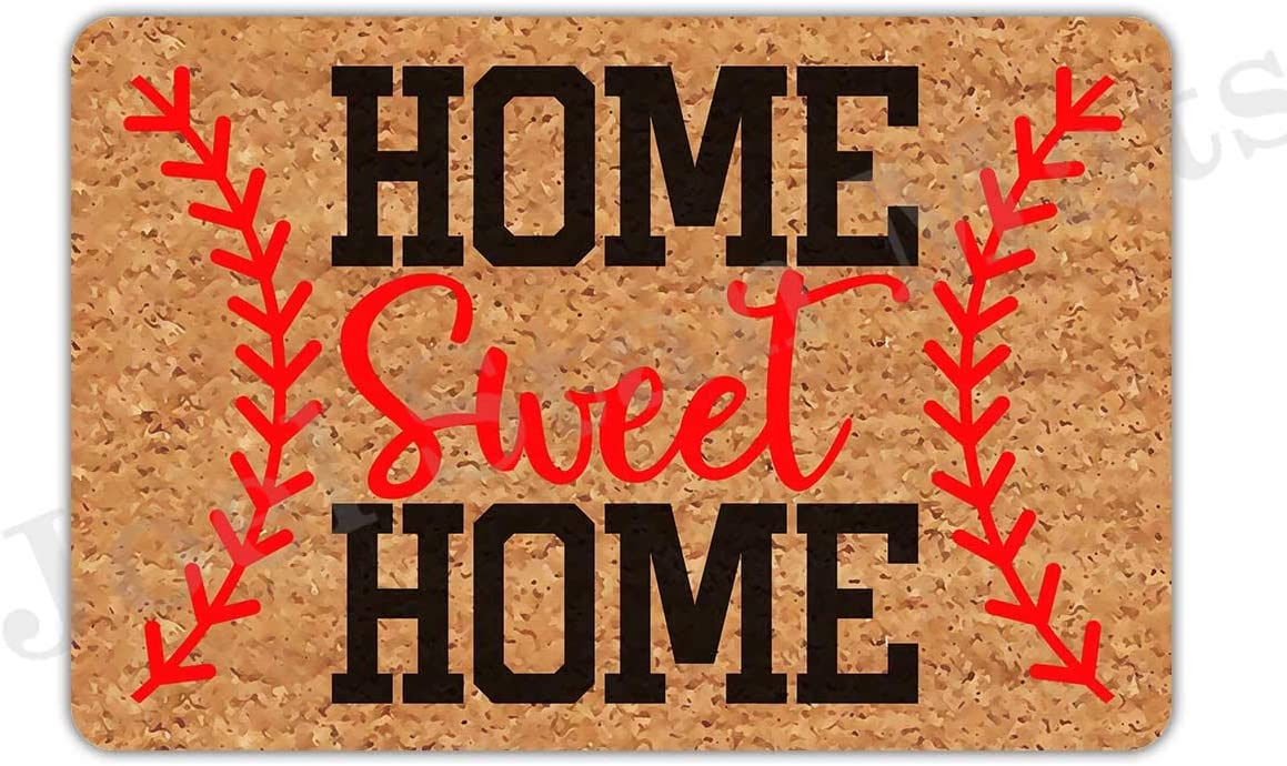 """Joelmat Entrance Home Sweet Home Baseball Non-Slip Indoor Rubber Door Mats for Front Door/Bathroom/Garden/Kitchen/Bedroom 23.6""""x 15.7"""""""