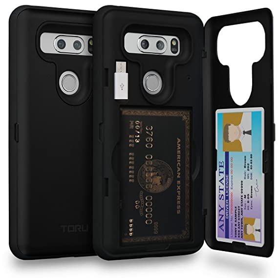 quality design 4f0be 07b05 TORU CX PRO LG V30 Wallet Case with Hidden ID Slot Credit Card Holder Hard  Cover, Mirror & USB Adapter for LG V30 / LG V30 Plus - Matte Black