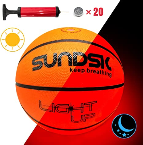 Sundsk Light Up - Balón de baloncesto con dos luces LED (tamaño y ...