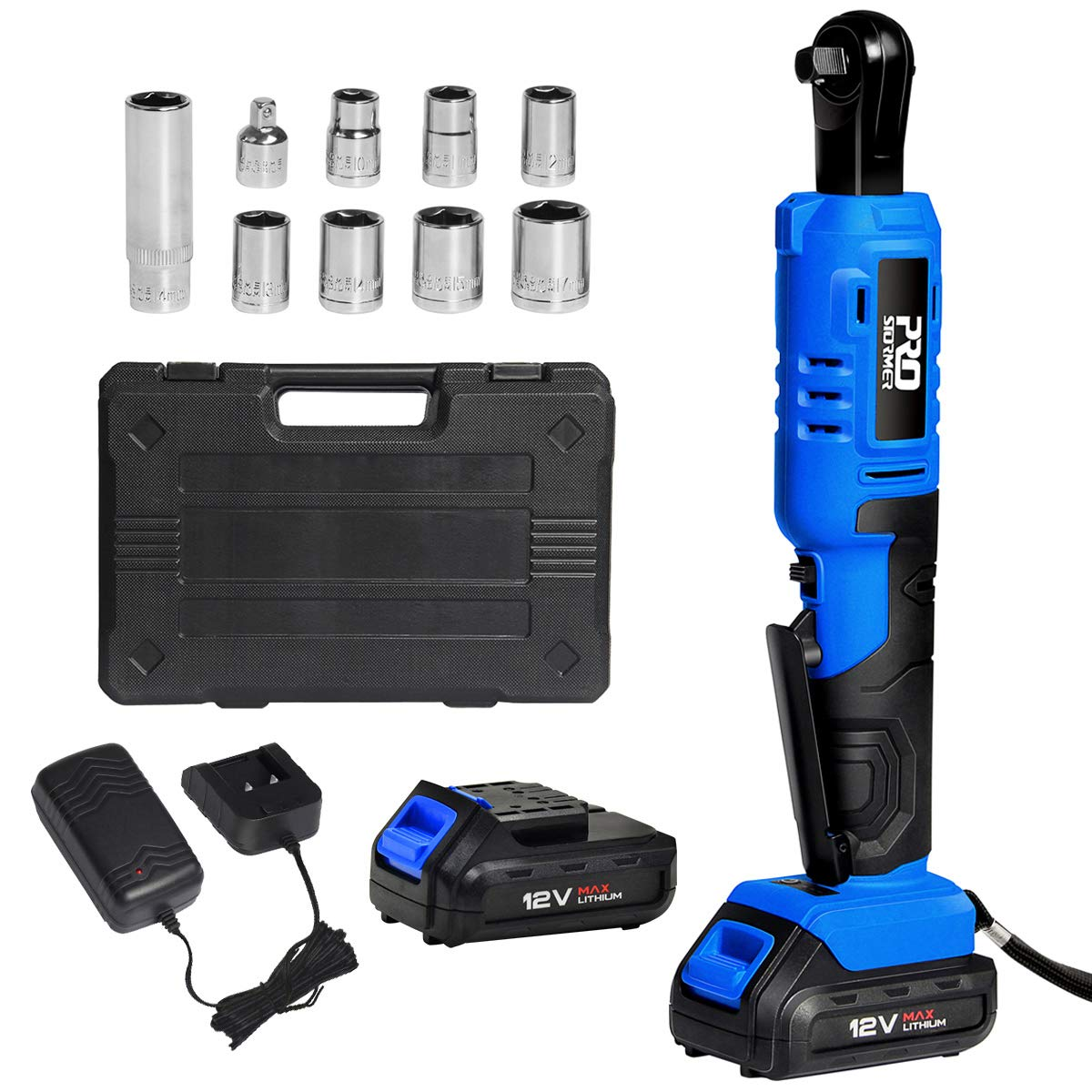 Cordless 3 8 Ratchet Wrench Set with 2PCS 2000mAh Lithium-Ion Batteries and Charger, PROSTORMER 12V Power Electric Ratchet Kit with 9-Piece Wrench Sockets and Toolbox