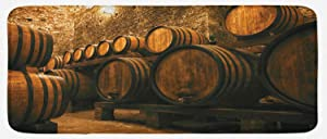"""Lunarable Winery Kitchen Mat, Barrels for Storage of Wine Italy Oak Container in Cold Dark Underground Cellar, Plush Decorative Kithcen Mat with Non Slip Backing, 47"""" X 19"""", Apricot Brown"""
