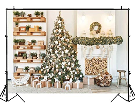 funnytree 7x5ft gold christmas tree photography backdrop xmas fireplace indoor background portrait photobooth decorations photo studio - Amazon Christmas Decorations Indoor