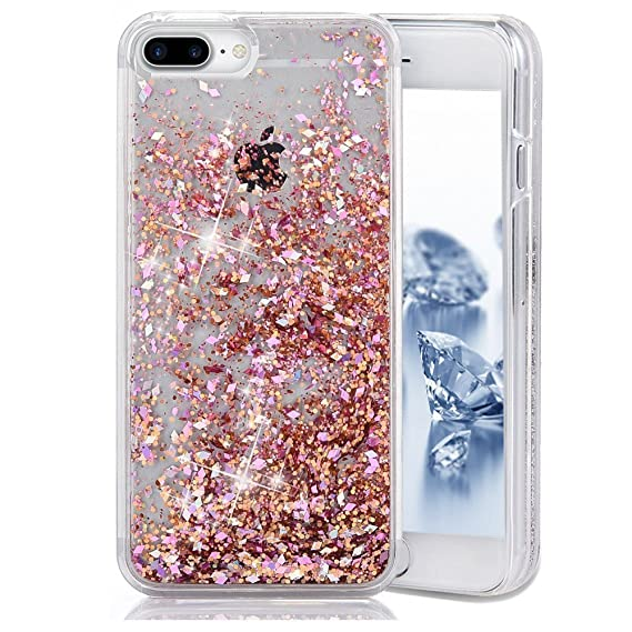 sports shoes 071ae 5c900 iPhone 7 Plus Case, iPhone 7 Plus Liquid Glitter Case, Asstar 3D Fashion  Creative Design Flowing Floating Luxury Bling Glitter Sparkle Heart Clear  ...