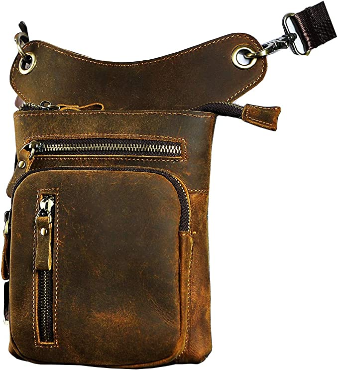 Image of a leather leg bag with vertical and horizontal zippers on front