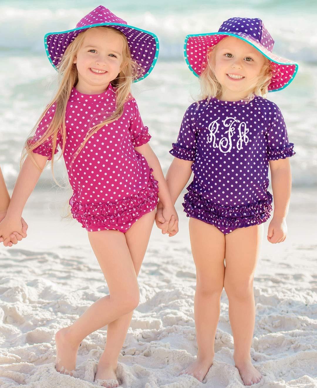 RuffleButts Little Girls Rash Guard 2-Piece Swimsuit Set - Berry Polka Dot Bikini with UPF 50+ Sun Protection - 3T by RuffleButts (Image #3)