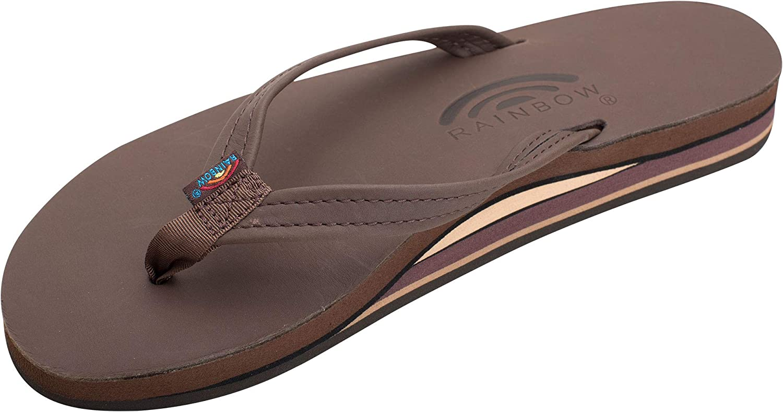 Rainbow Sandals Women/'s Double Layer Premier Leather Narrow Strap w//Arch
