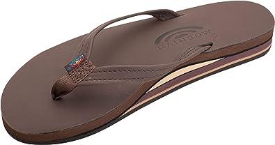 Women Rainbow Sandals Flirty Braidy Strap Dark Brown Premier Leather