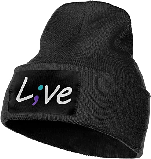 Unisex Live Love Semicolon Outdoor Warm Knit Beanies Hat Soft Winter Skull Caps