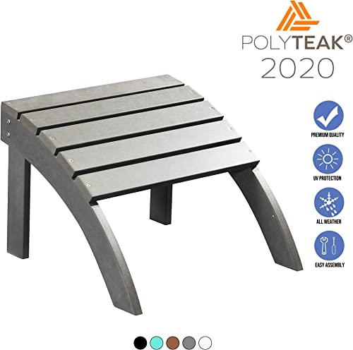 PolyTEAK Adirondack Ottoman, Gray Adult-Size, Weather Resistant, Made from Special Formulated Poly Lumber Plastic