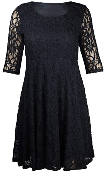 72b12a950 Womens Ladies Fancy Night Party Wear Floral Lace 3/4 Sleeve Mini Skater  Dress Top US 10-24 at Amazon Women's Clothing store: