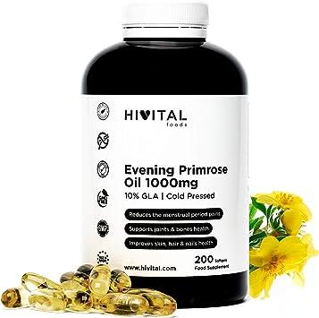 Aceite de Onagra 1000 mg con 10% Omega 6 GLA | 200 perlas de Aceite