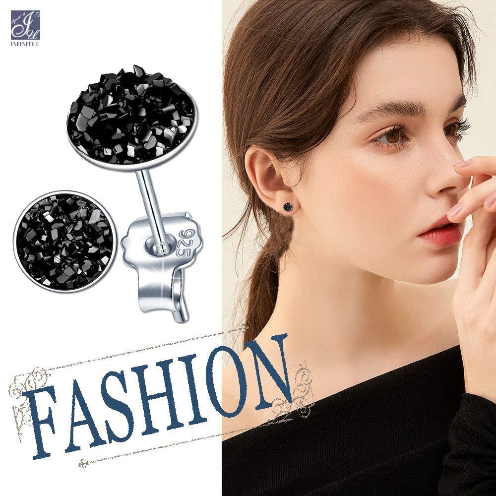 Orecchini donna ragazza orecchini a bottone in argento 925 orecchini a bottone rotondi stella cristallo 8mm regalo per anniversario di Natale