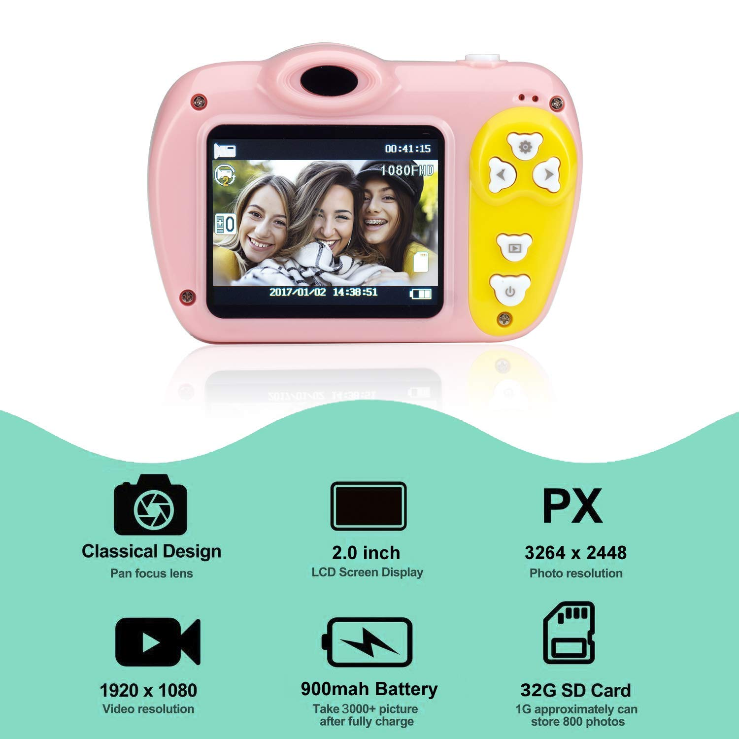 Kasney E8 Digital Kids Camera Rechargeable Digital Photo//Video 1080 HD Camera with 8Gb Memory Card Creative l Video Camcorder Rear Selfie Outdoor Playing for Child Boys Girls Orange