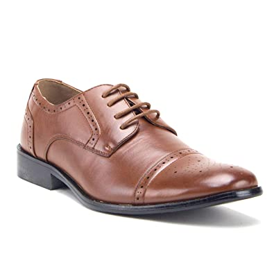 Mens 95733 Leather Lined Perforated Cap Toe Oxford Dress Shoes, Cognac, ...