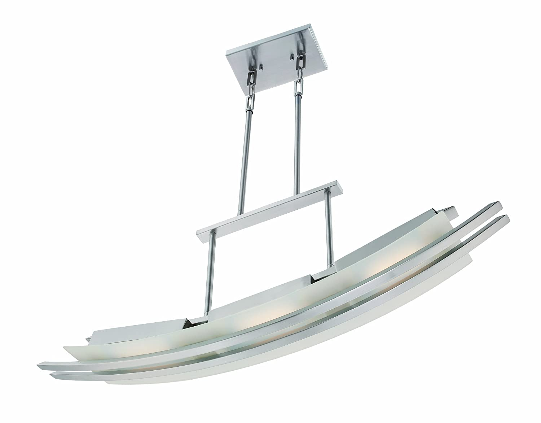 Nuvo Lighting 62//133 Trax LED Three Light Island Pendant 14.4 Watt 855 Lumens Soft White 2700K KolourOne Technology Frosted Glass Brushed Nickel Fixture