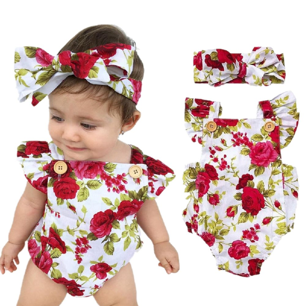 Feel Show Baby Floral Print Ruffles Rompers Newborn Infant Baby Girls Jumpsuit with Headband