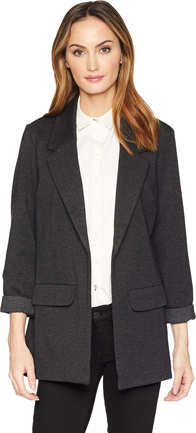 Charcoal Liverpool Womens Boyfriend Blazer in Marled Ponte Knit