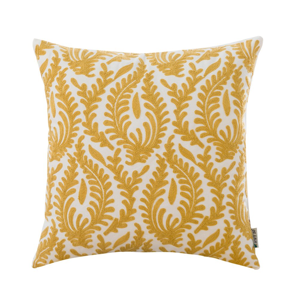 HWY 50 Cotton Embroidered Decorative Throw Pillow Covers Cushion Cases for Couch Sofa Bed Bedroom European Yellow Abstract Branches 18 x 18 inch 45 x 45 cm,1 Piece