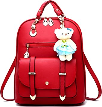 Women Leather PU school backpacks for teenage girls large capacity shoulder bags,Red,15 Inches