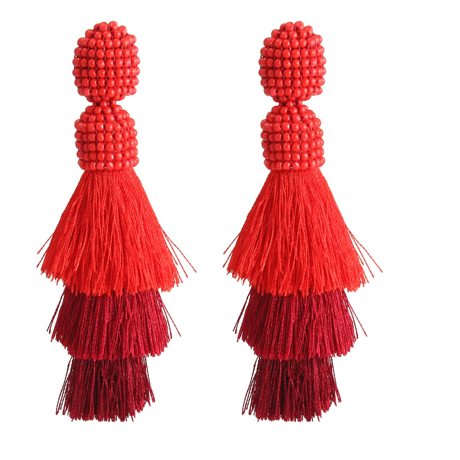 Bohemian Beaded Tassel Earrings Tiered Layered Statement Fringe Drop Earring (Red) by Bonnie (Image #1)