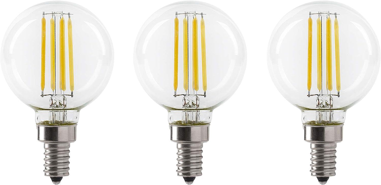 LED 5.5W G16.5 Clear Globe Filament Light Bulb, 50W Equivalent, 500 Lumens, 3000K Soft White, E12 Candelabra Base, Dimmable, 120V, UL Listed, (3 Pack)