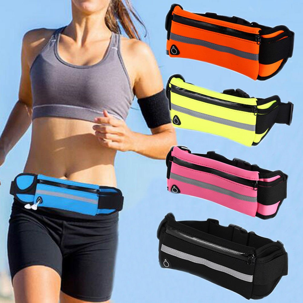 Enshey Running Belt, Adjustable Unisex Waterproof Running Waist Pack Fitness Workout Carry Card, Passport, Money iPhone Sport Pouch, Reflective Waist Belt (Black)