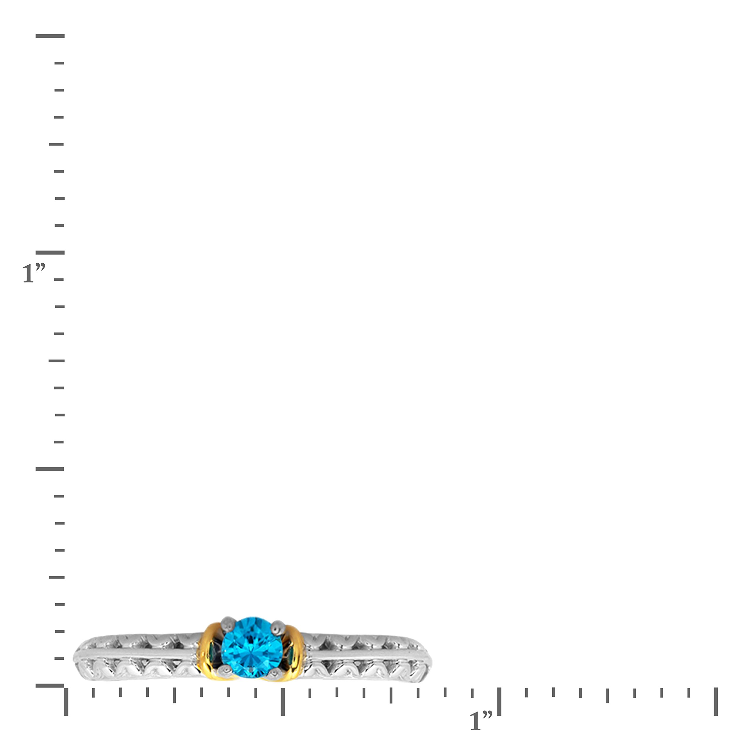 Sterling Silver with Yellow Plate 1/5cttw Round Blue Diamond Promise Ring by Genuine Diamonds by Diamante (Image #4)