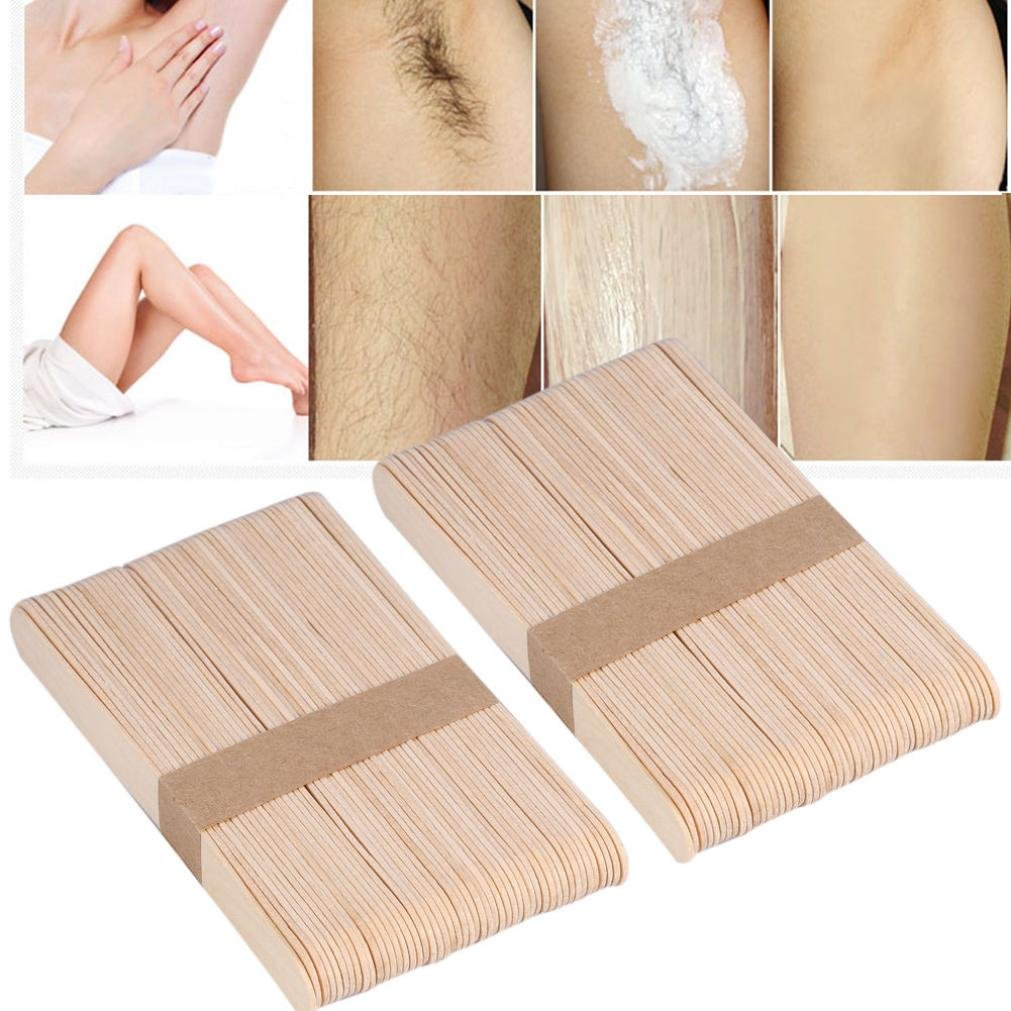 Kingfansion 20PCS Body Hair Removal Sticks Wooden Wax Waxing Disposable Sticks for Hard Wax Pellet Waxing Bikini Hair Removal Bean