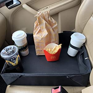 Foldable Car Seat Tray Food Holder for Road Trip Food Delivery Driver Grubhub Ubereats Doordash Postmates Drivers