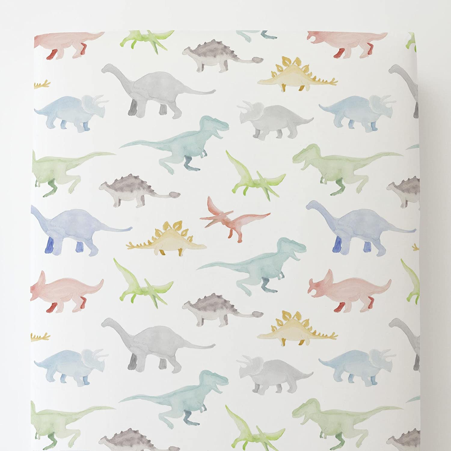Carousel Designs Watercolor Dinosaurs Toddler Bed Sheet Fitted