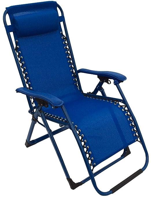 BAKAJI Sedia A Sdraio Pieghevole Sedia Relax da Giardino Sedia Sdraio Campeggio Camping Outdoor con Poggiapiedi e Poggiatesta Imbottito con Cuscino Sedia Sdraio Prendisole Relax Colore Blu
