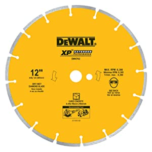 DEWALT DW4743 XP 12-Inch Dry Cutting Diamond Segmented Saw Blade with 1-Inch Arbor for Cured Concrete