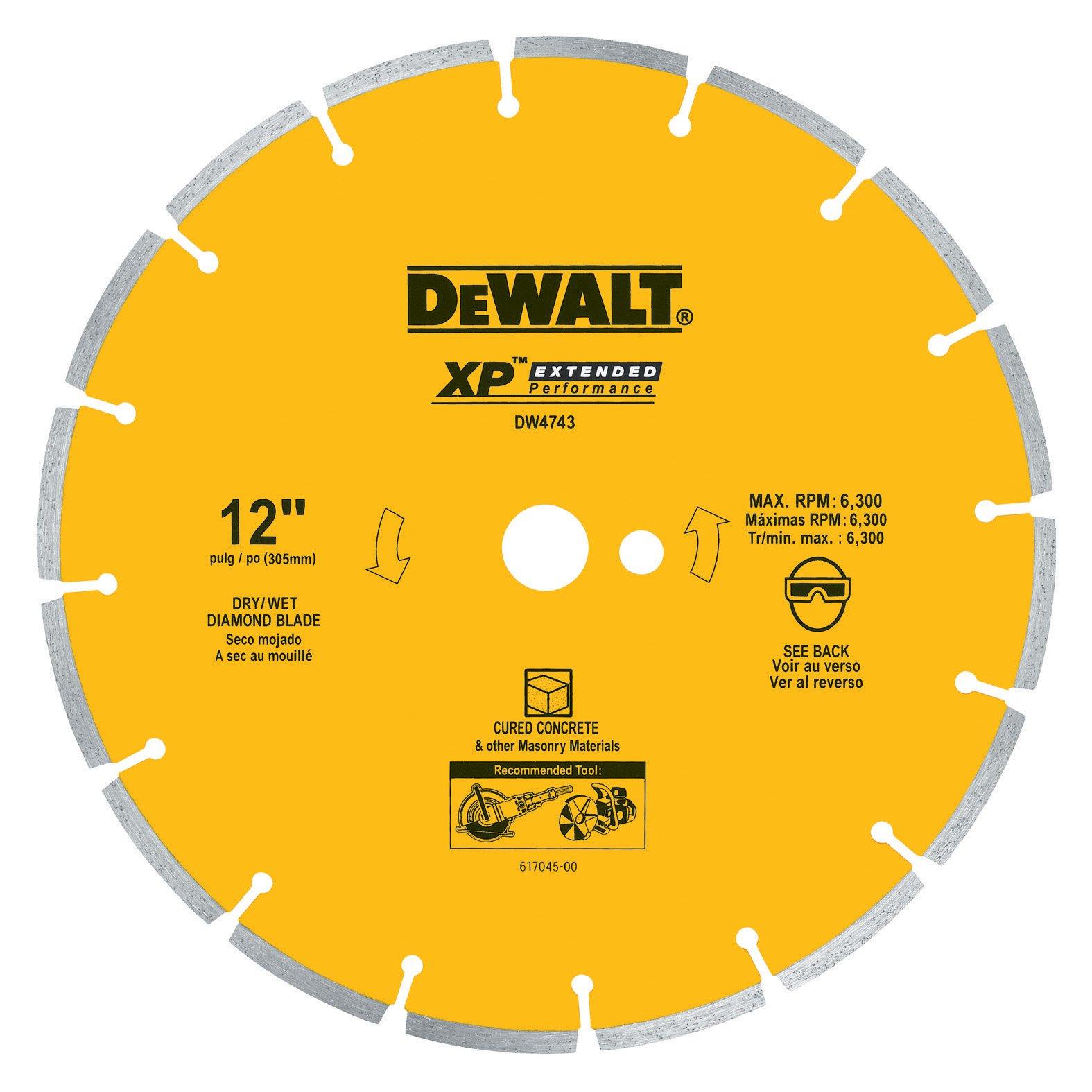 Disco de Diamante DEWALT DW4743 XP segmentado de corte en seco de 12 pulg. con eje de 1 pulgada para concreto curado