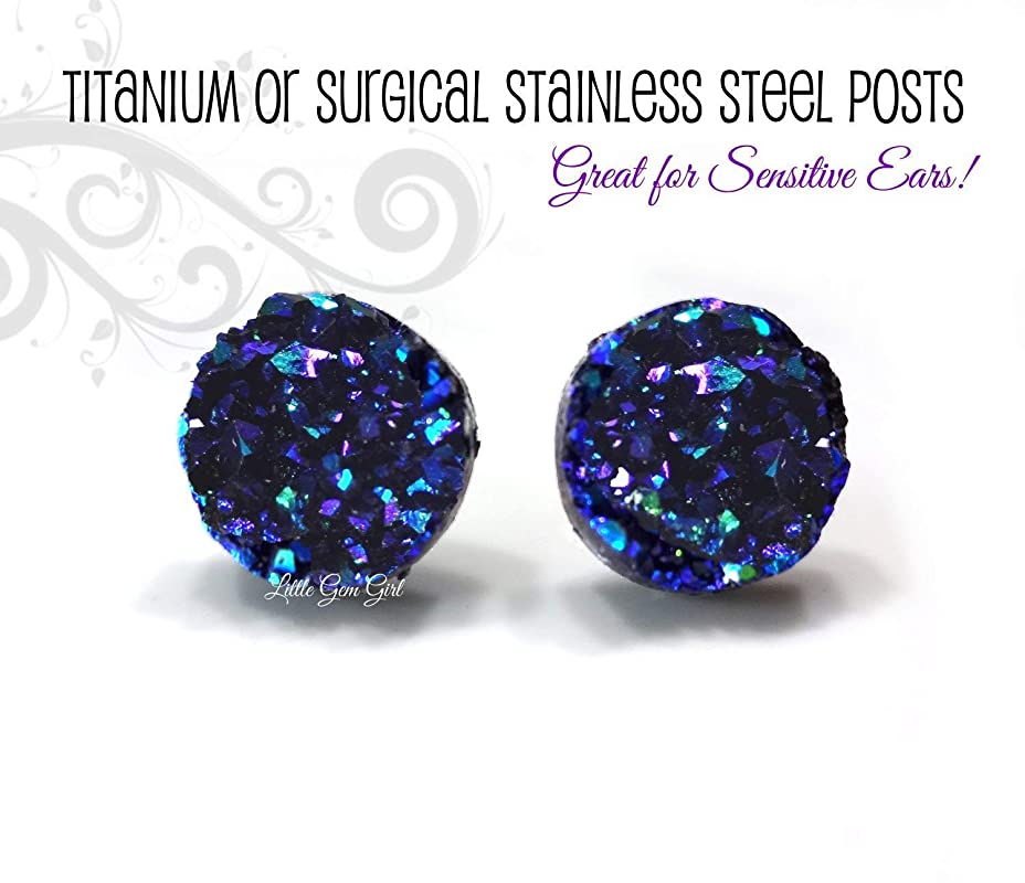Stainless Steel Glacier Blue Faux Druzy Stone Stud Earrings 12mm