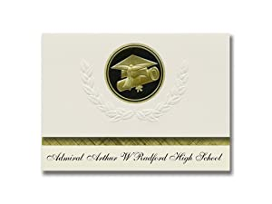 Signature Announcements Admiral Arthur W Radford High School (Honolulu, HI) Graduation Announcements, Presidential Elite Pack 25 Cap & Diploma Seal. Black & Gold.