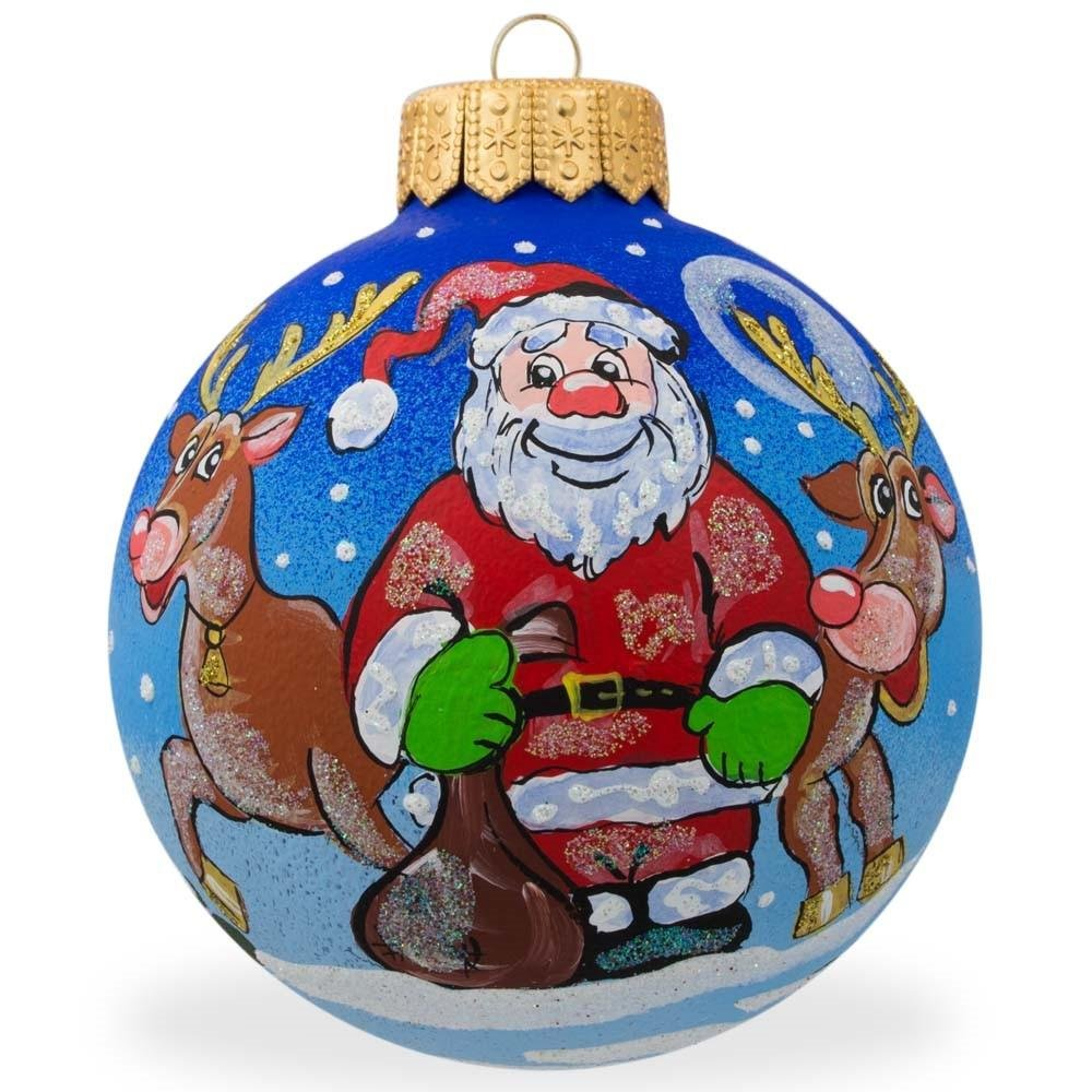 4'' Santa and Reindeer Animal Glass Ball Christmas Santa Ornament