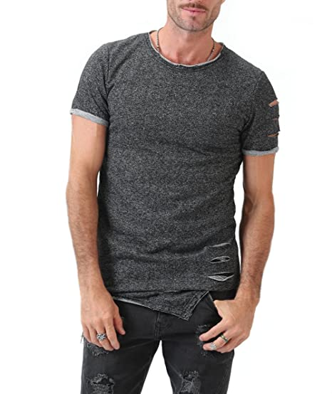 dd7974dba75 Men s Short Sleeve Crew Neck Slim Fit Fitness T-Shirt Tops with Ripped  Holes