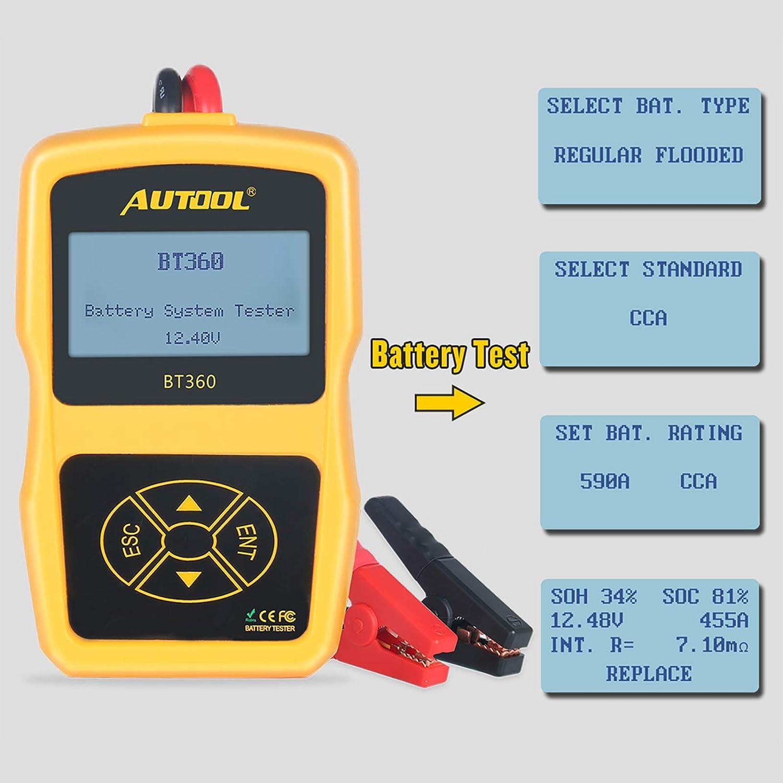 DC 12V Car Battery Tester AUTOOL BT-360 AGM GEL Lead Acid Battery Analyzer